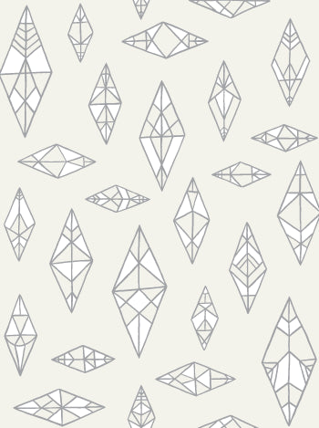 Sample Indian Summer Wallpaper in Cream, Silver, and White design by Juju