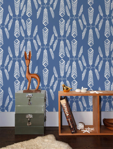 Indian Summer Wallpaper in Lagoon design by Aimee Wilder