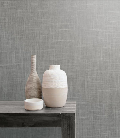 Indie Linen Embossed Vinyl Wallpaper in Mercury from the Boho Rhapsody Collection by Seabrook Wallcoverings