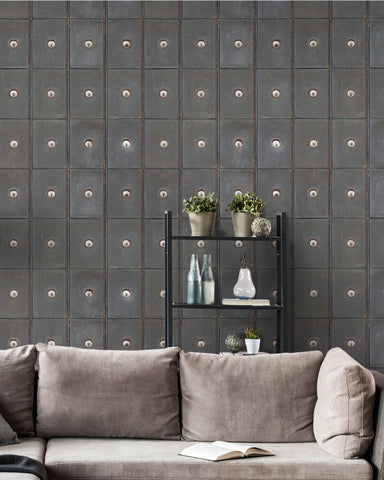 Industrial Cabinets Wallpaper in Grey and Brown from the Eclectic Collection by Mind the Gap