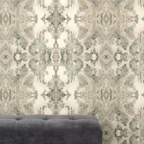 Inner Beauty Wallpaper in Grey from the Botanical Dreams Collection by Candice Olson for York Wallcoverings