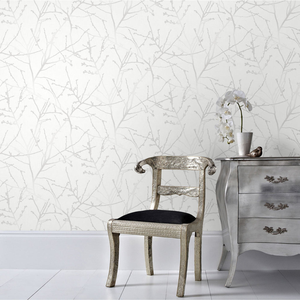 Innocence Wallpaper in White Mica from the Innocence Collection by Graham & Brown