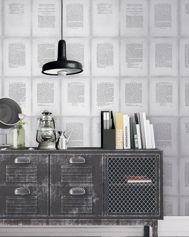 Inside Book Wallpaper in Grey and Black from the Eclectic Collection by Mind the Gap