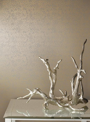 Interactive Wallpaper in Gold and White by Antonina Vella for York Wallcoverings