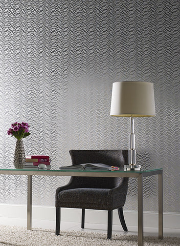 Interlocking Geo Wallpaper in Gold and Grey by York Wallcoverings