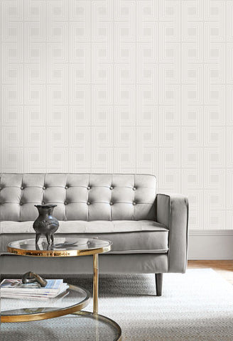 Interlocking Squares Wallpaper from the Casa Blanca II Collection by Seabrook Wallcoverings