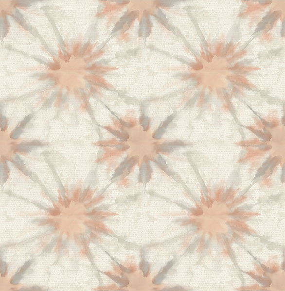 Sample Iris Coral Shibori Wallpaper from the Kismet Collection by Brewster Home Fashions