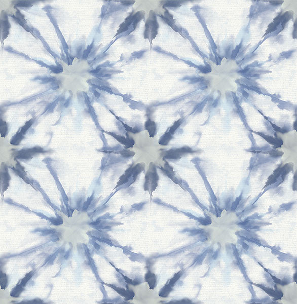Sample Iris Indigo Shibori Wallpaper from the Kismet Collection by Brewster Home Fashions