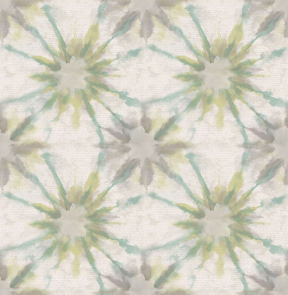 Iris Turquoise Shibori Wallpaper from the Kismet Collection by Brewster Home Fashions