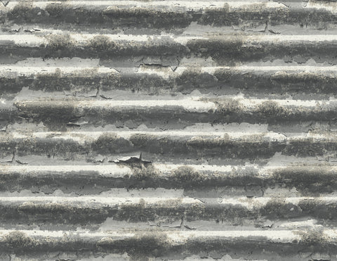 Iron Wallpaper in Grey and Black from the Solaris Collection by Mayflower Wallpaper