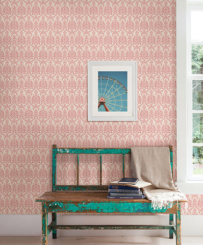 Isla Red Petite Damask Wallpaper from the Kismet Collection by Brewster Home Fashions