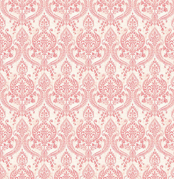 Sample Isla Red Petite Damask Wallpaper from the Kismet Collection by Brewster Home Fashions