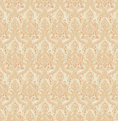 Isla Rust Petite Damask Wallpaper from the Kismet Collection by Brewster Home Fashions