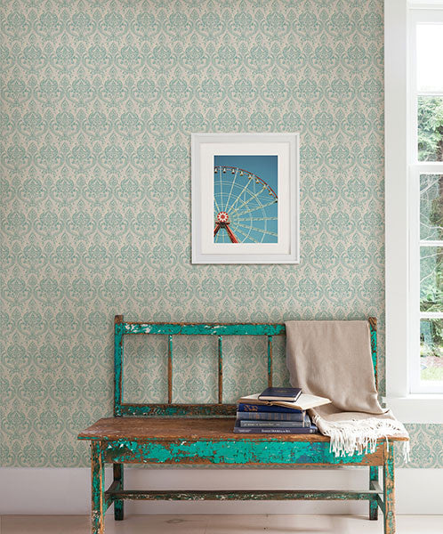 Isla Turquoise Petite Damask Wallpaper from the Kismet Collection by Brewster Home Fashions