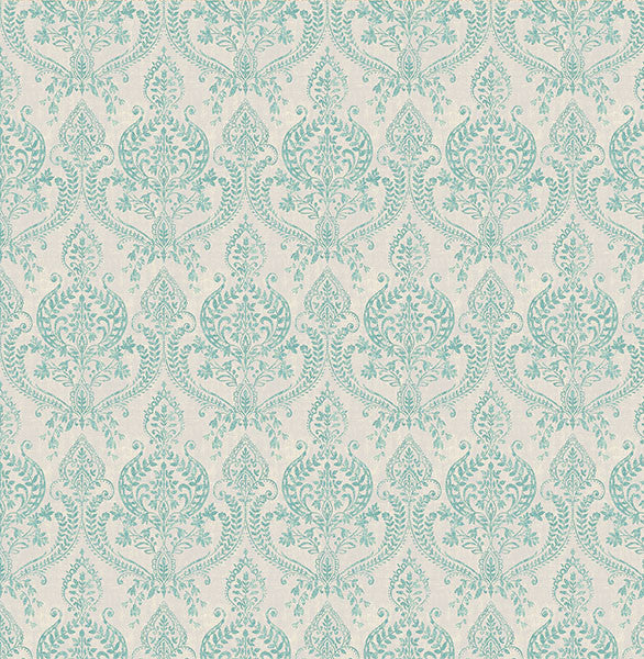 Sample Isla Turquoise Petite Damask Wallpaper from the Kismet Collection by Brewster Home Fashions