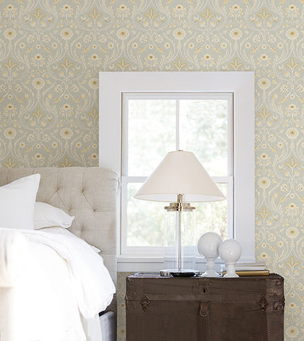 Island Grey Damask Wallpaper from the Seaside Living Collection by Brewster Home Fashions
