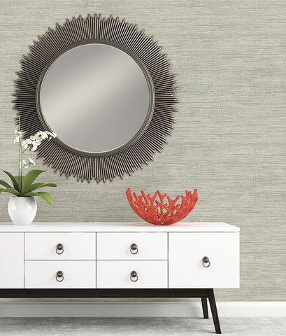 Island Grey Faux Grasscloth Wallpaper from the Essentials Collection by Brewster Home Fashions