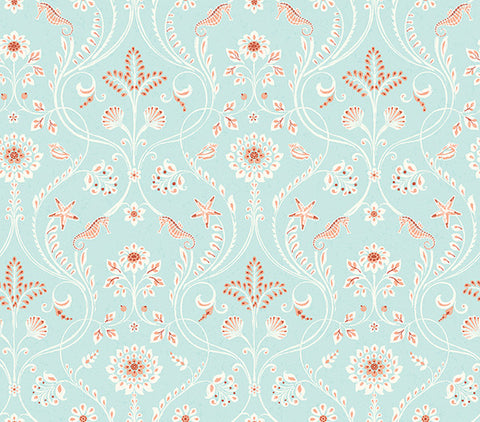 Island Turquoise Damask Wallpaper from the Seaside Living Collection by Brewster Home Fashions