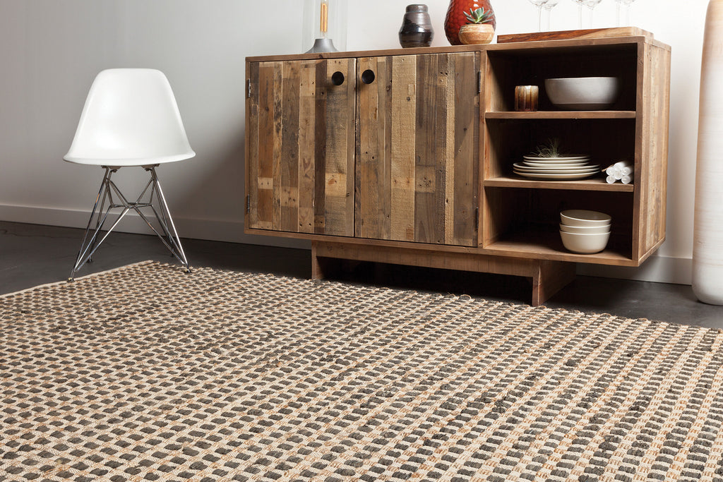 Jazz Collection Hand-Woven Area Rug in Tan & Black design by Chandra rugs