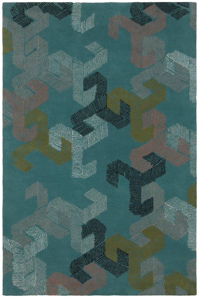 Jessica Swift Collection Hand-Tufted Wool Rug in Teal design by Chandra Rugs