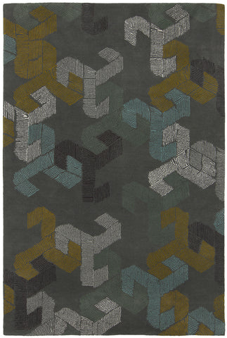 Jessica Swift Collection Hand-Tufted Wool Rug in Grey design by Chandra Rugs
