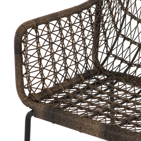 Bandera Outdoor Woven Barstool In Distressed Grey