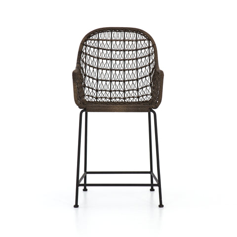 Bandera Outdoor Woven Counter Stool in Distressed Grey by BD Studio