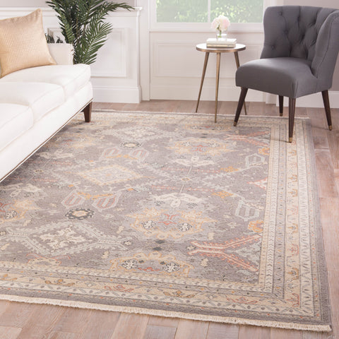Wolter Hand-Knotted Medallion Gray & Gold Area Rug
