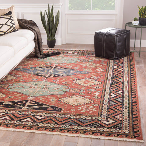 Granato Hand-Knotted Medallion Red & Blue Area Rug design by Jaipur Living