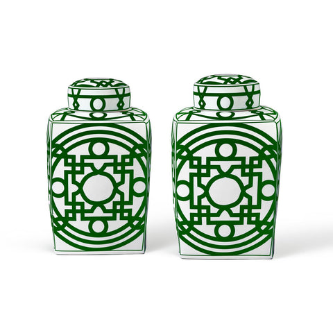 Jasper Square Jar in Green & White design by Bungalow 5