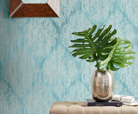 Jackman Damask Wallpaper in Blues and Ivory by Carl Robinson for Seabrook Wallcoverings