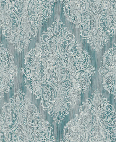 Jackman Damask Wallpaper in Greens by Carl Robinson for Seabrook Wallcoverings
