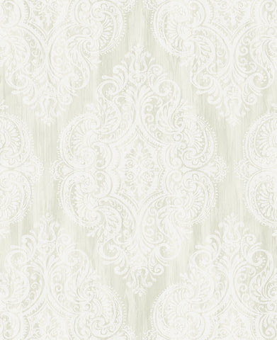 Jackman Damask Wallpaper in Metallic and Neutrals by Carl Robinson for Seabrook Wallcoverings