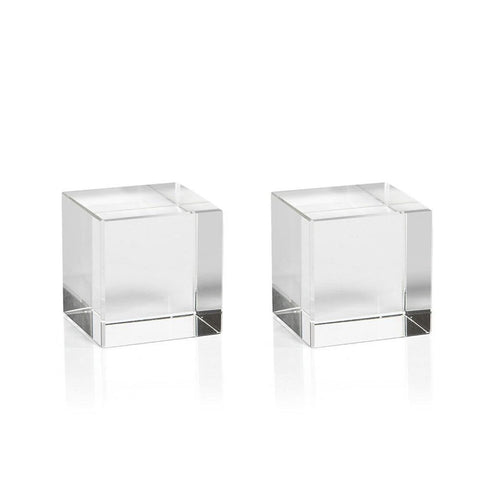 Jacy Small Crystal Glass Straight Cube, Set of 2