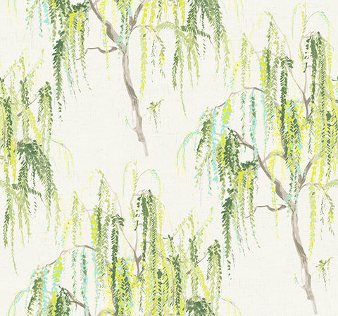 Jade Floral Wallpaper in Greens and Ivory by Carl Robinson for Seabrook Wallcoverings