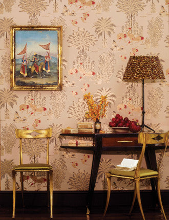 Jagmandir Wallpaper in Beige and Gold from the Sariskar Collection by Osborne & Little