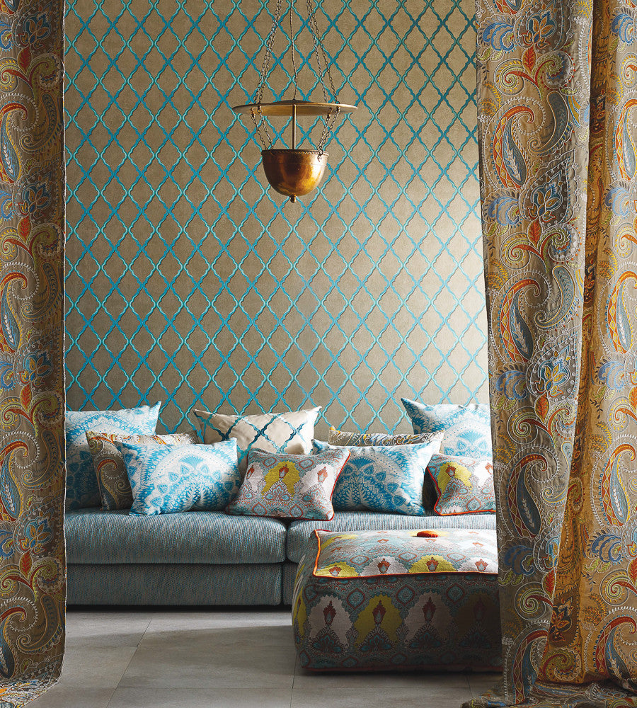 Jali Trellis Wallpaper In Gold And Gilver By Matthew