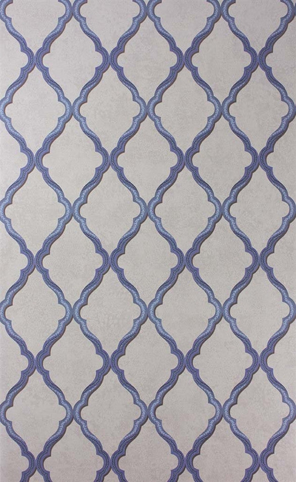Jali Trellis Wallpaper in Blue and Stone by Matthew Williamson for Osborne & Little