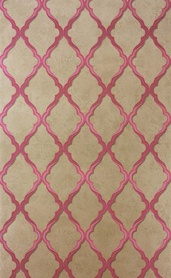 Jali Trellis Wallpaper in Pink and Gilver by Matthew Williamson for Osborne & Little