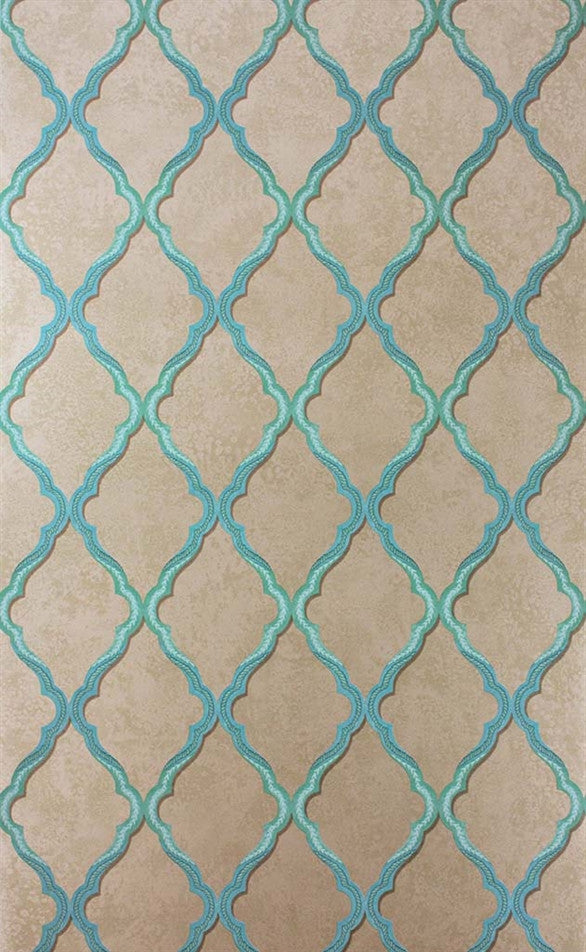 Jali Trellis Wallpaper in Teal and Gilver by Matthew Williamson for Osborne & Little