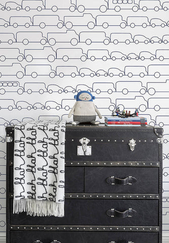 Jam Wallpaper in Navy by Marley + Malek Kids