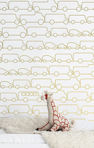 Jam Wallpaper in Silver Metallic by Marley + Malek Kids