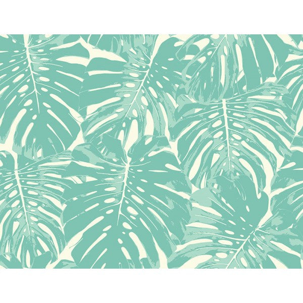 Jamaica Wallpaper in Aqua from the Tortuga Collection by Seabrook Wallcoverings