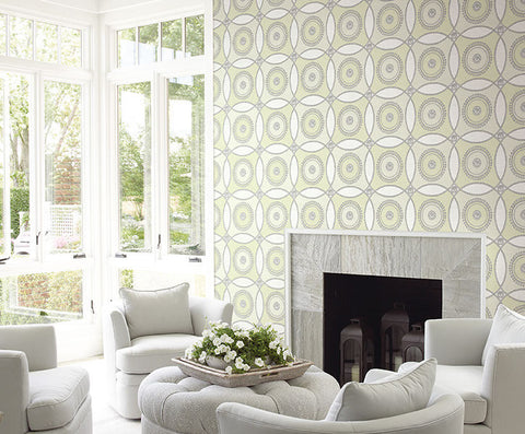 James Circles Wallpaper in Yellows and Greens by Carl Robinson for Seabrook Wallcoverings