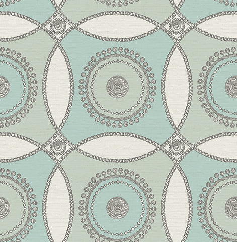 James Circles Wallpaper in Blues and Ivory by Carl Robinson for Seabrook Wallcoverings