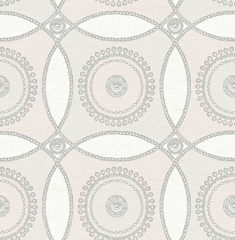 James Circles Wallpaper in Ivory and Neutrals by Carl Robinson for Seabrook Wallcoverings