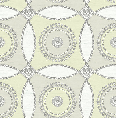 James Circles Wallpaper in Yellows and Neutrals by Carl Robinson for Seabrook Wallcoverings