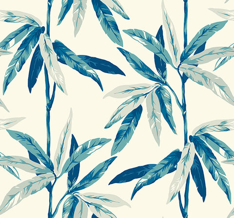 Janson Floral Wallpaper in Blues and Ivory by Carl Robinson for Seabrook Wallcoverings