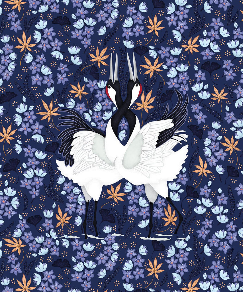 Japanese Cranes Wallpaper in Blue from the Wallpaper Republic Collection by Milton & King