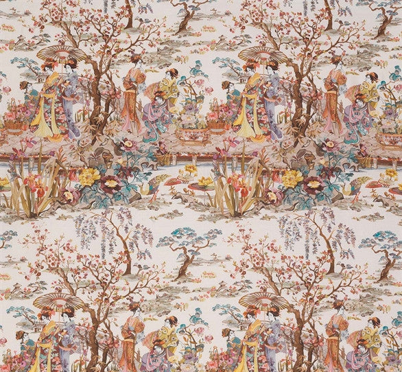 Japanese Garden Fabric in Ochre and Mustard from the Enchanted Gardens Collection by Osborne & Little